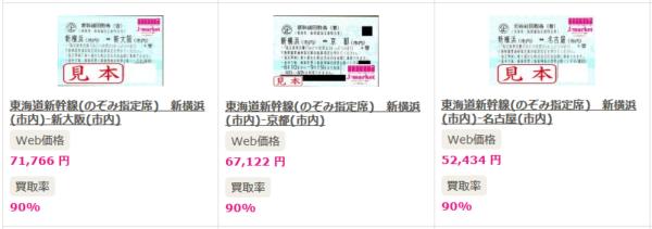 新幹線の回数券の換金率