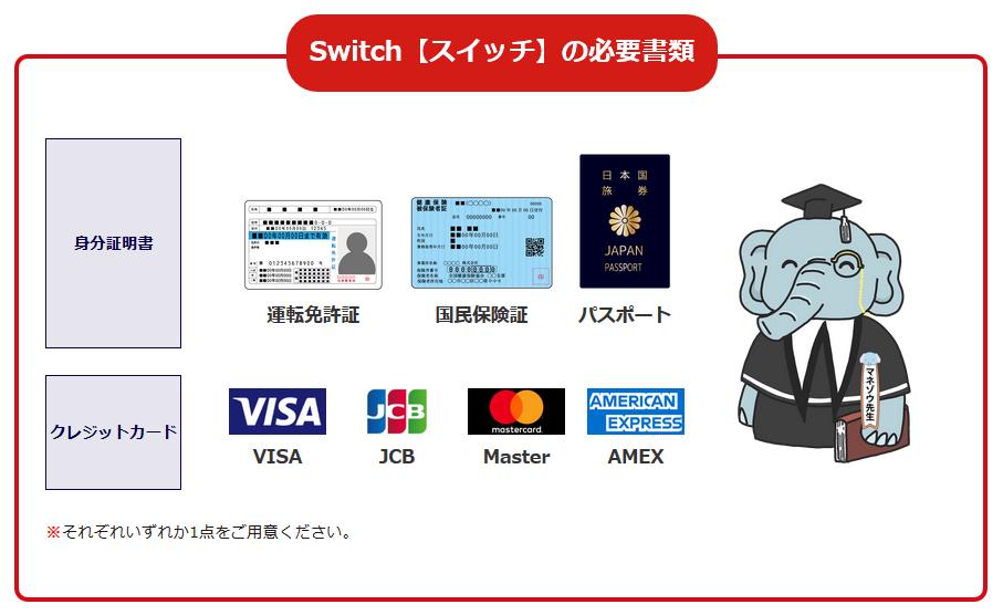 スイッチ-Switch-の必要書類